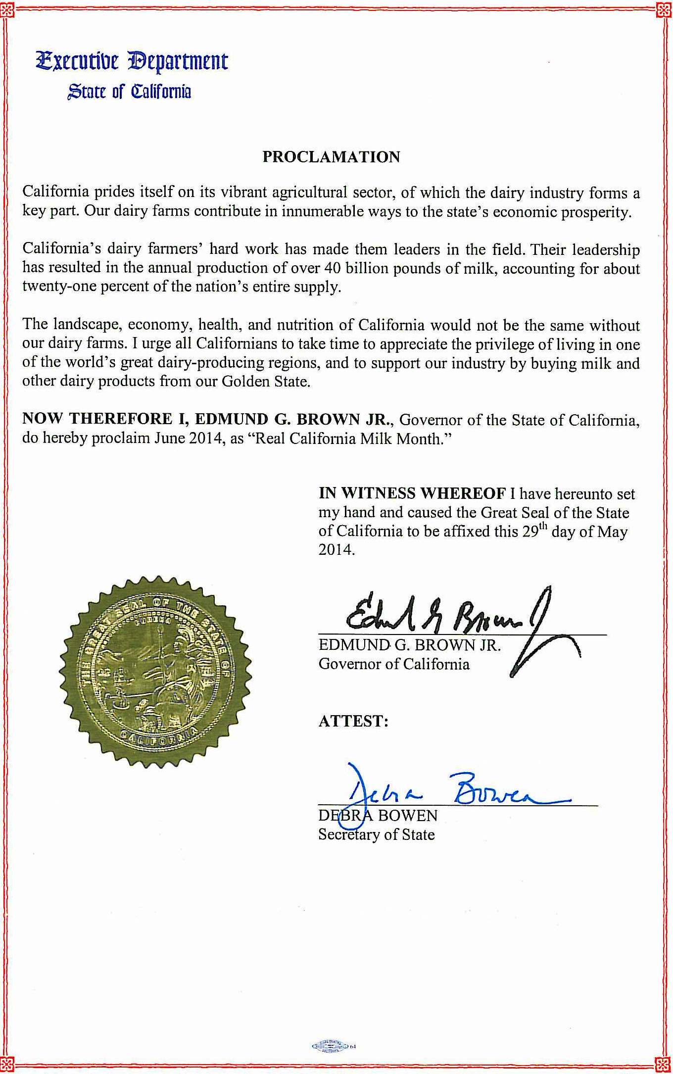 Governor Brown's Real California Month Proclamation